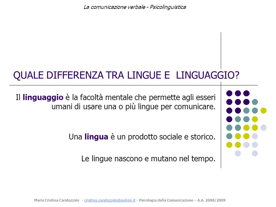 QUALE DIFFERENZA TRA LINGUE E LINGUAGGIO