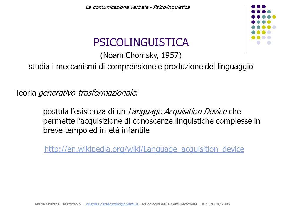 studia i meccanismi di comprensione e produzione del linguaggio
