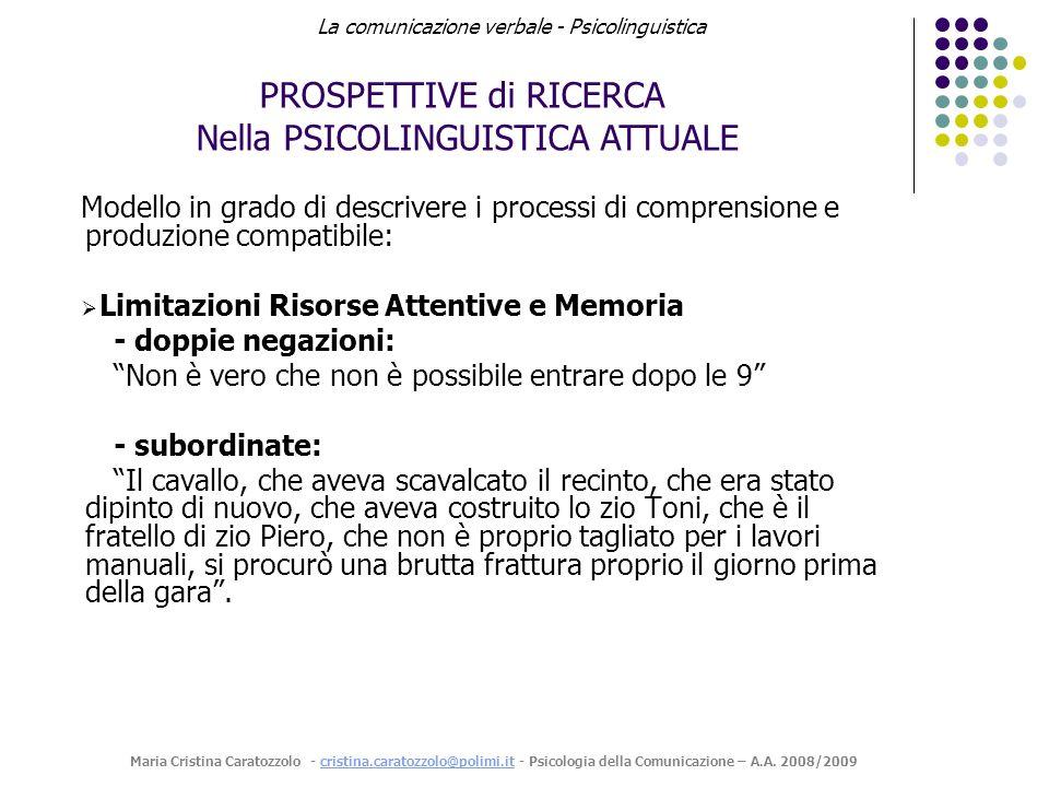 PROSPETTIVE di RICERCA Nella PSICOLINGUISTICA ATTUALE