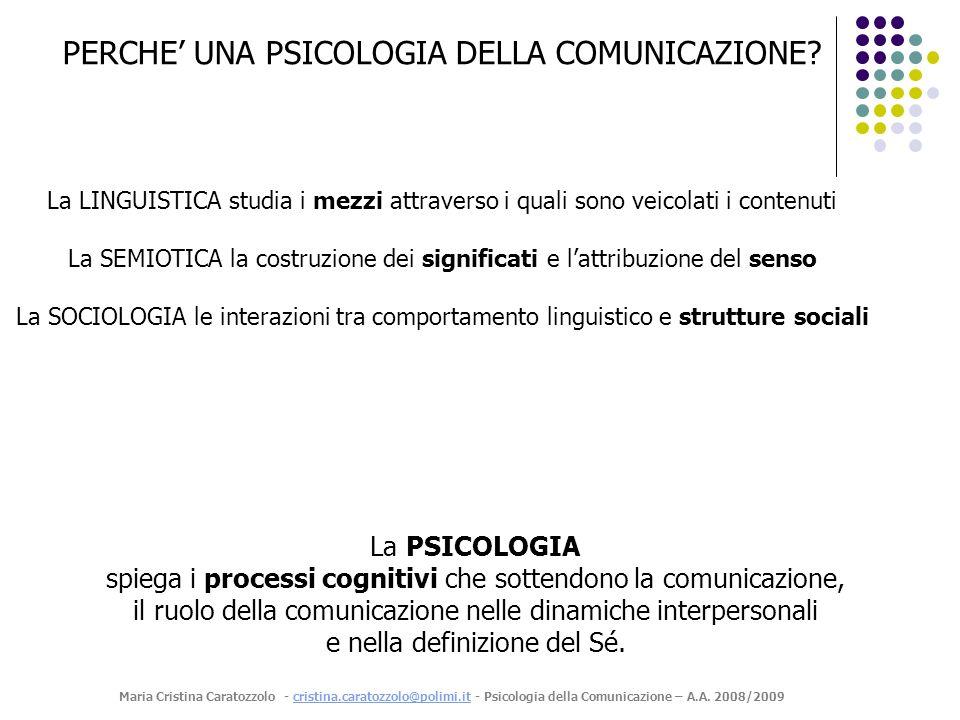 PERCHE' UNA PSICOLOGIA DELLA COMUNICAZIONE