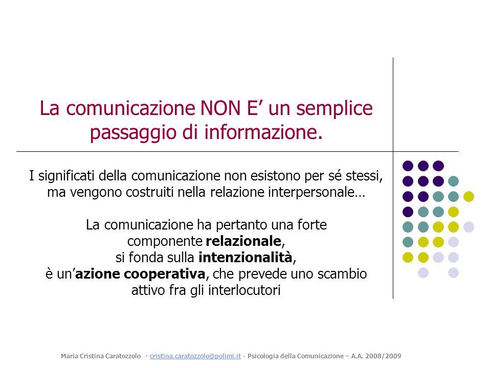 La comunicazione NON E' un semplice passaggio di informazione