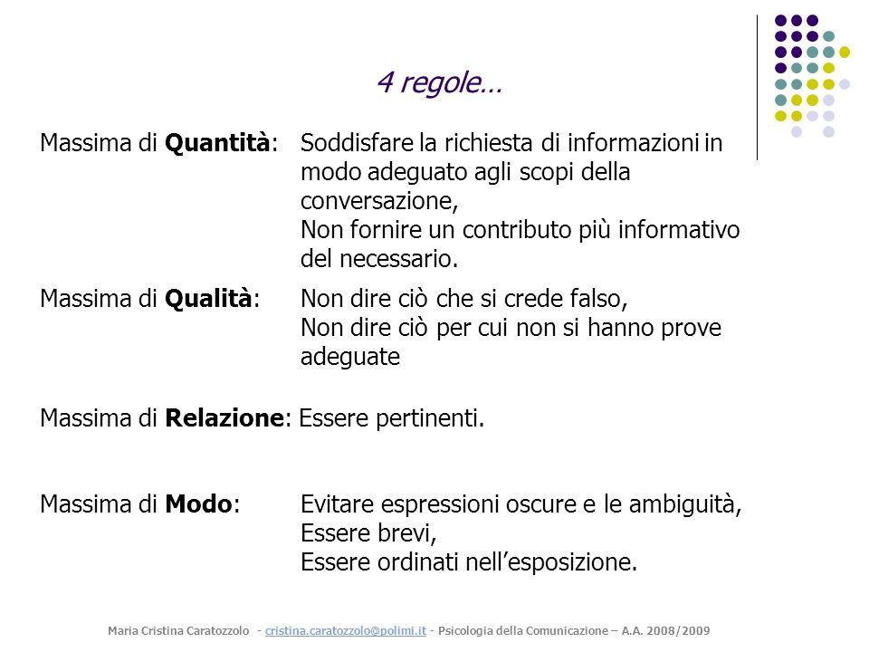 4 regole… Massima di Quantità: Soddisfare la richiesta di informazioni in modo adeguato agli scopi della conversazione,