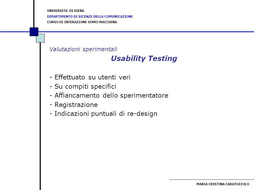 Usability Testing - Effettuato su utenti veri - Su compiti specifici