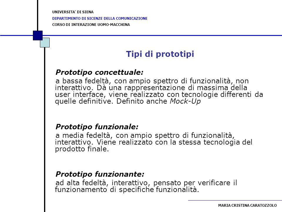 Tipi di prototipi Prototipo concettuale: