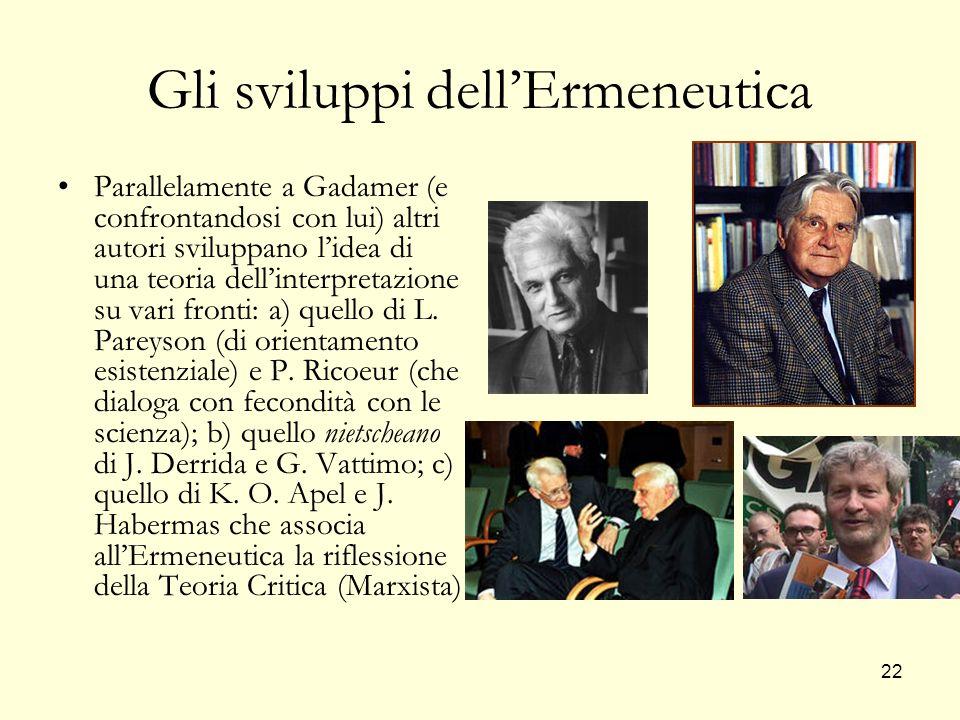 Gli sviluppi dell'Ermeneutica