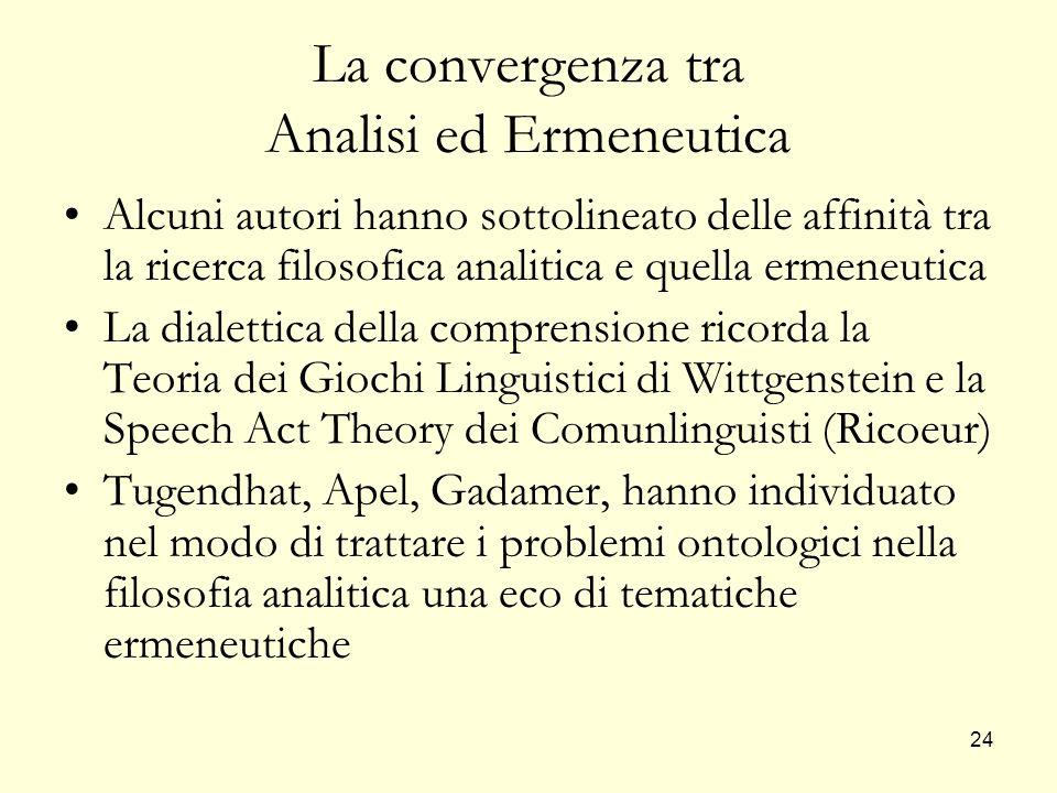 La convergenza tra Analisi ed Ermeneutica