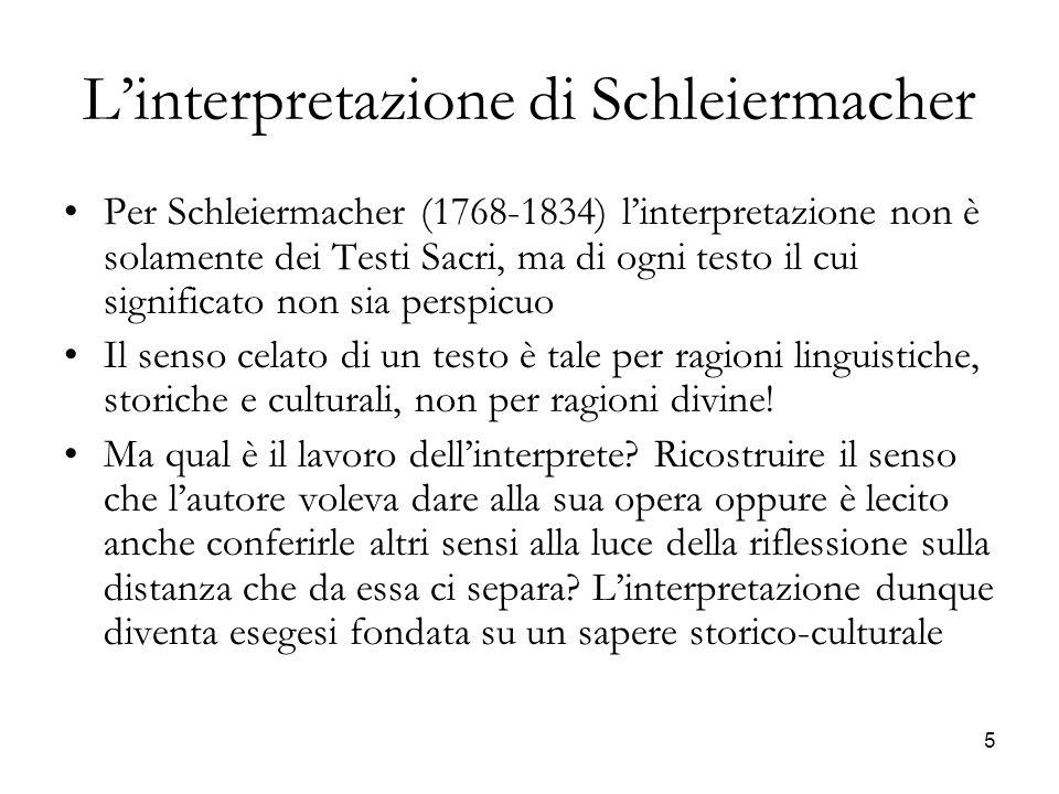 L'interpretazione di Schleiermacher
