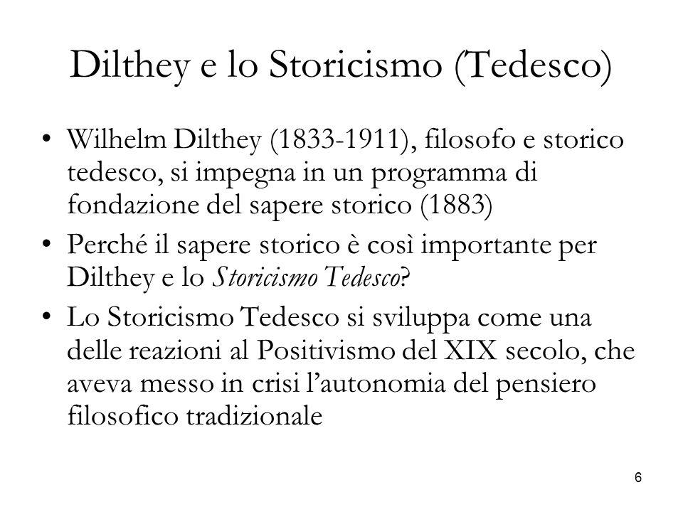 Dilthey e lo Storicismo (Tedesco)