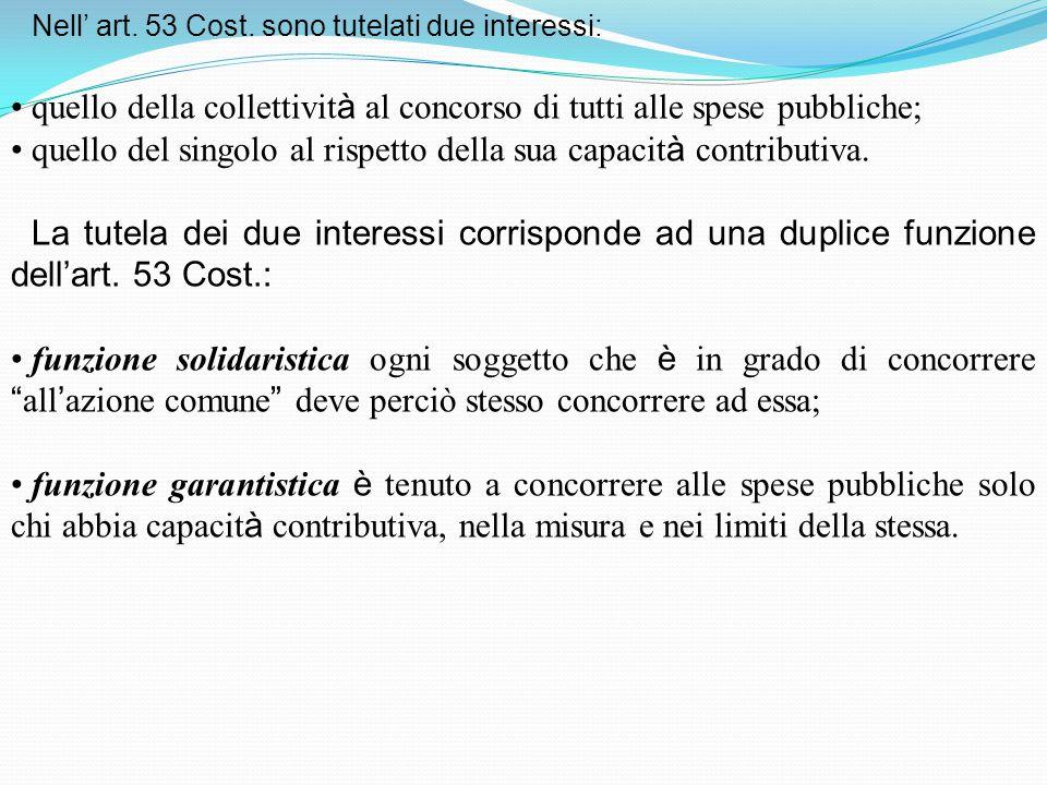 quello della collettività al concorso di tutti alle spese pubbliche;