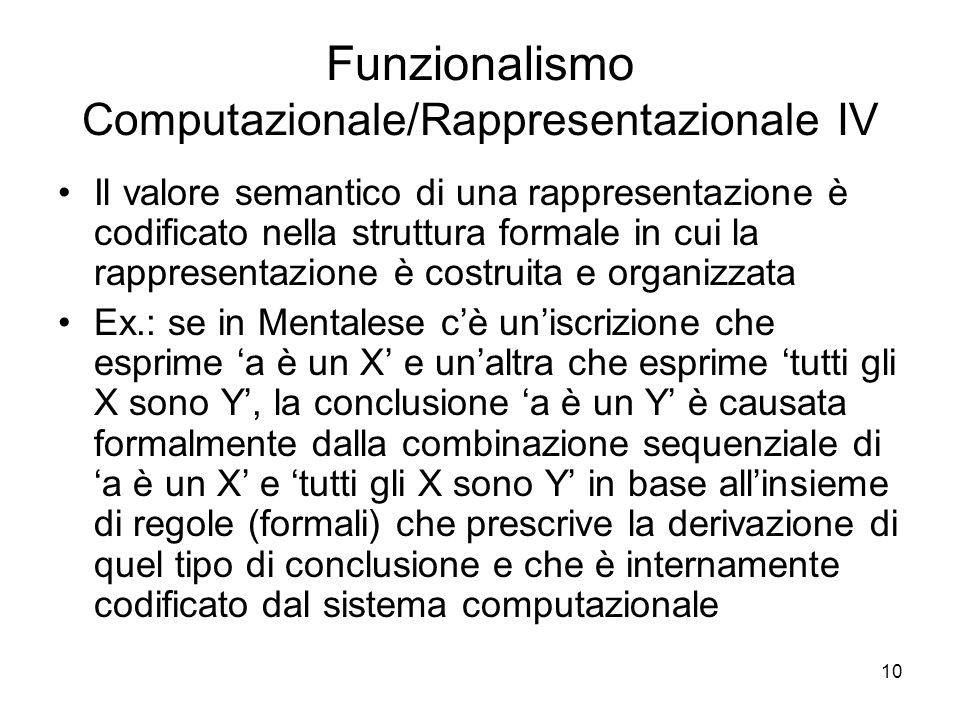 Funzionalismo Computazionale/Rappresentazionale IV