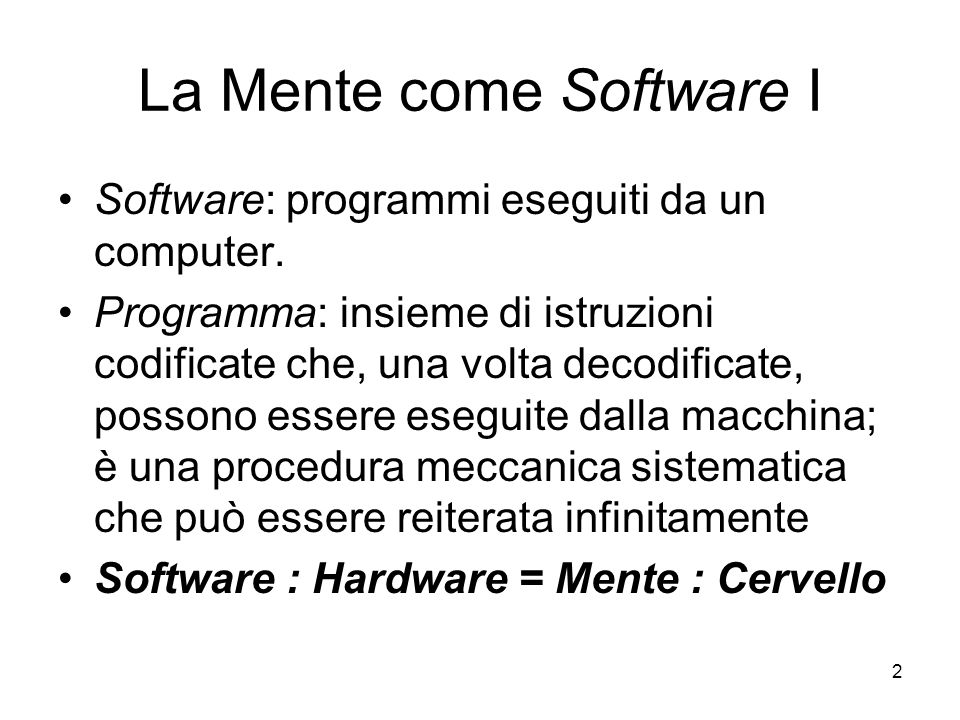 La Mente come Software I