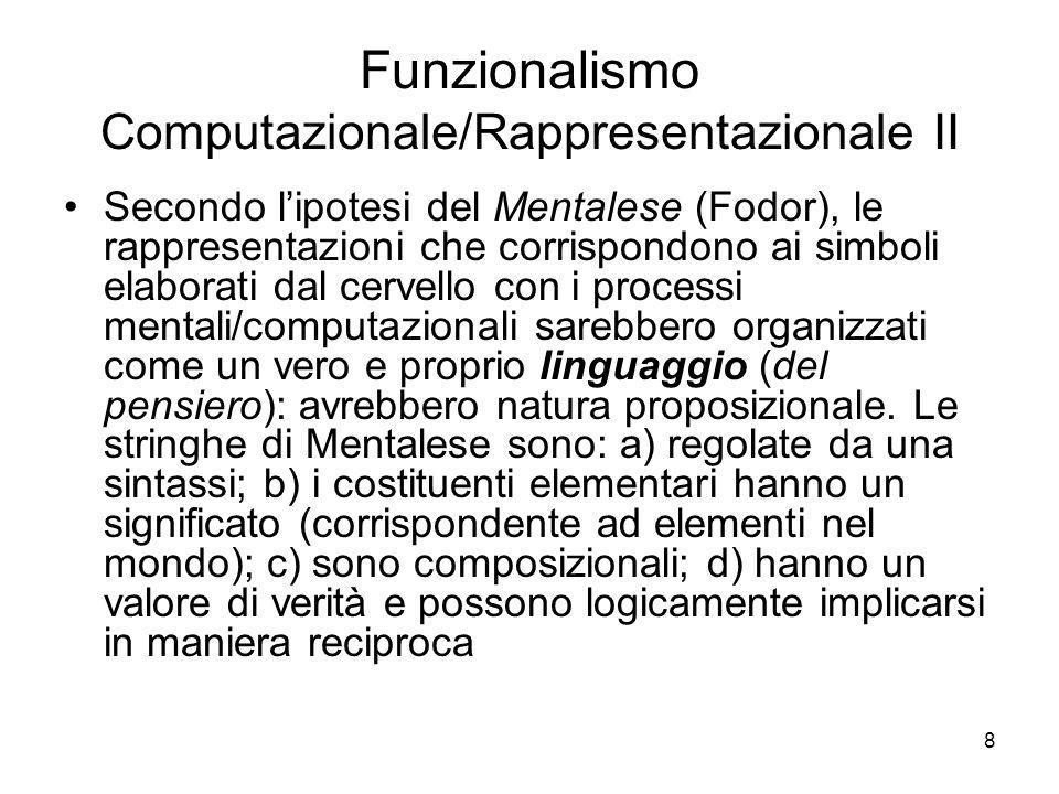 Funzionalismo Computazionale/Rappresentazionale II