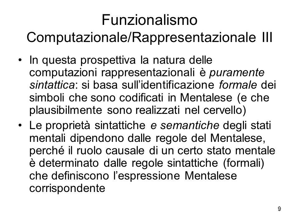 Funzionalismo Computazionale/Rappresentazionale III