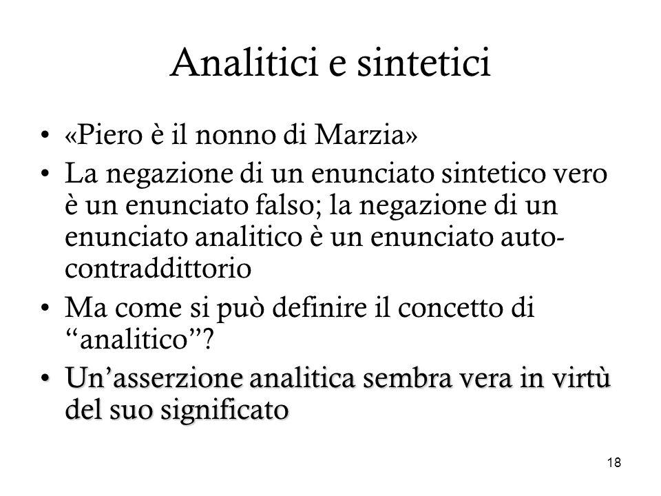 Analitici e sintetici «Piero è il nonno di Marzia»