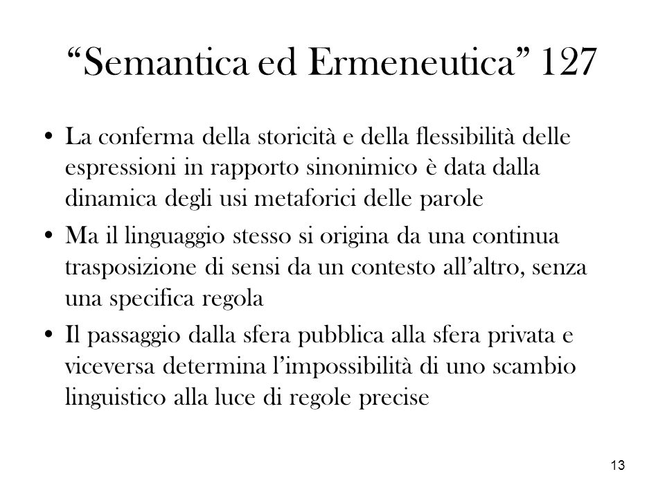 Semantica ed Ermeneutica 127