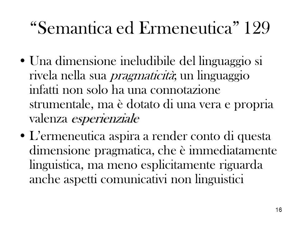 Semantica ed Ermeneutica 129