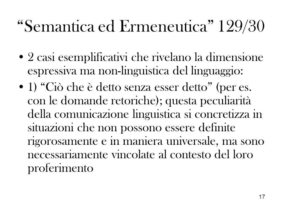 Semantica ed Ermeneutica 129/30