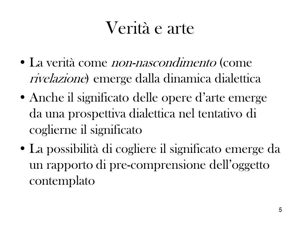Verità e arte La verità come non-nascondimento (come rivelazione) emerge dalla dinamica dialettica.