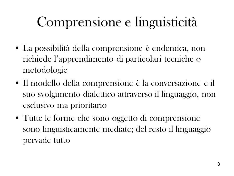 Comprensione e linguisticità