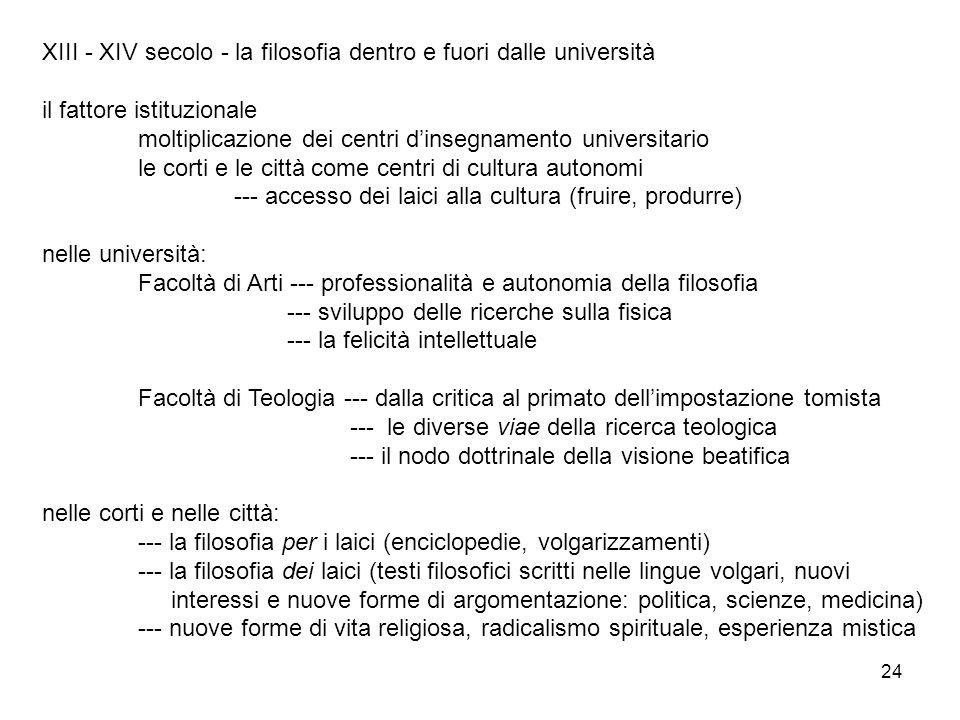 XIII - XIV secolo - la filosofia dentro e fuori dalle università