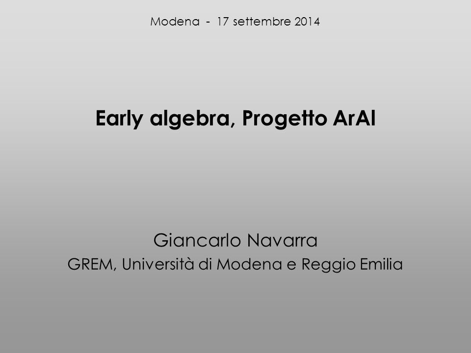 Early algebra, Progetto ArAl