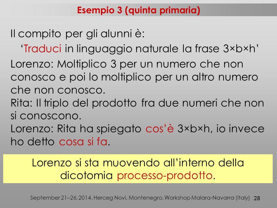 Esempio 3 (quinta primaria)