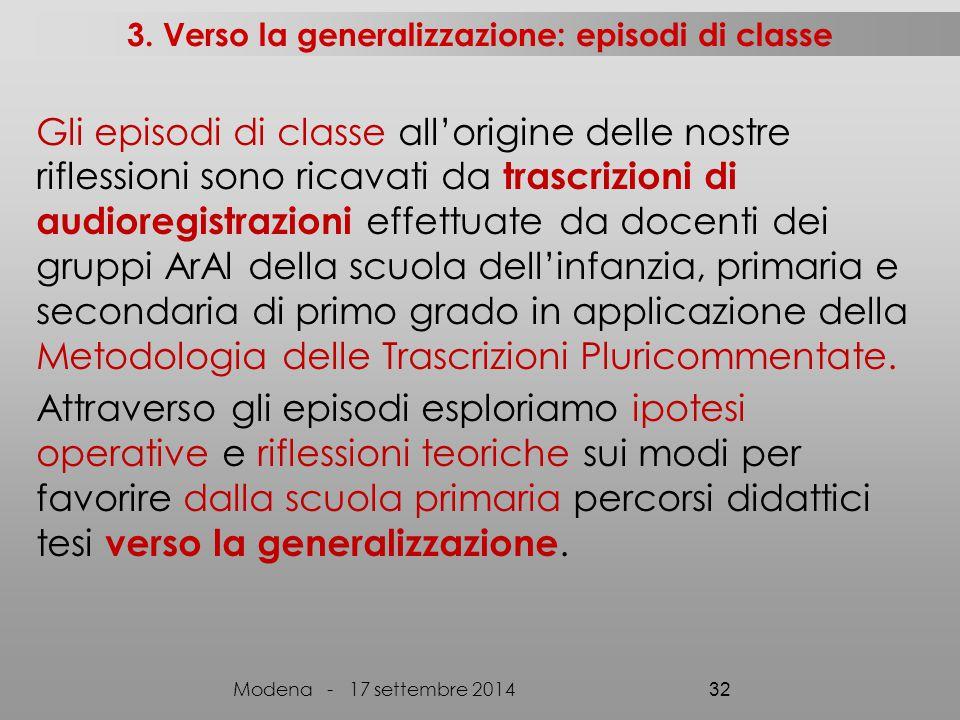 3. Verso la generalizzazione: episodi di classe