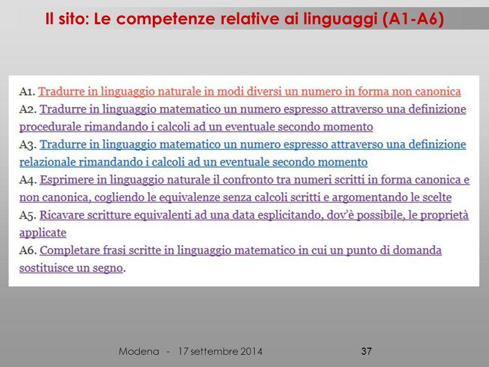 Il sito: Le competenze relative ai linguaggi (A1-A6)