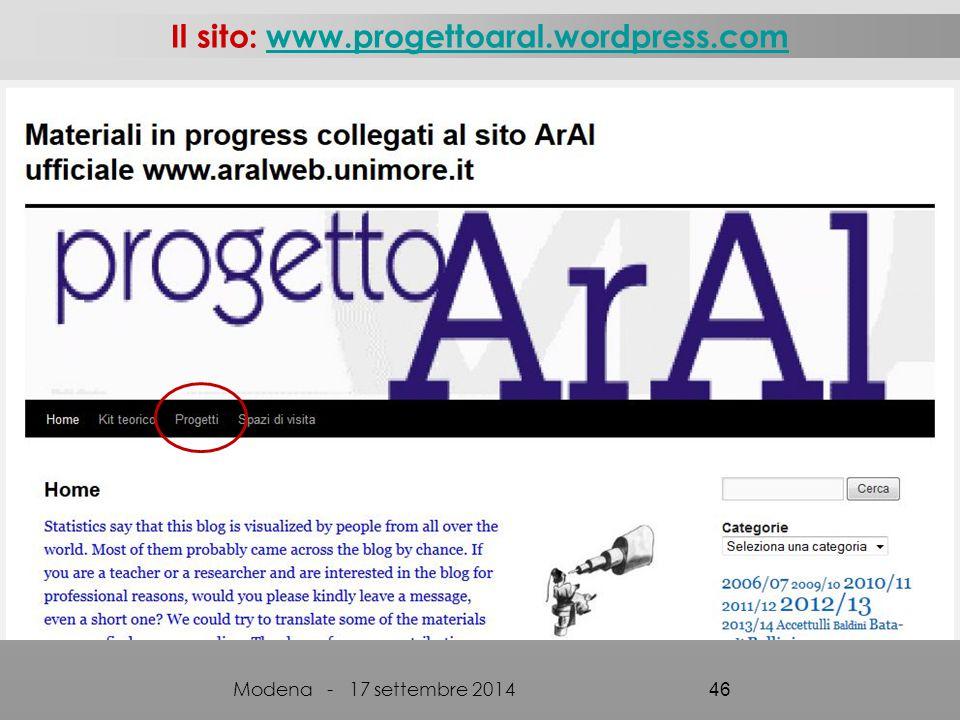 Il sito: www.progettoaral.wordpress.com