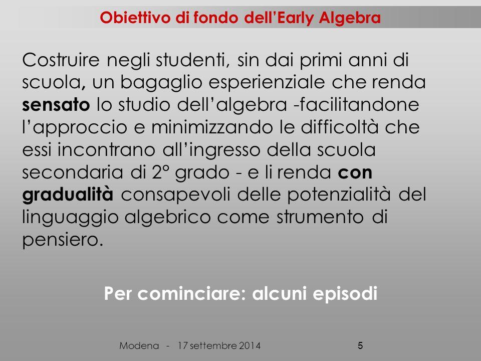 Obiettivo di fondo dell'Early Algebra