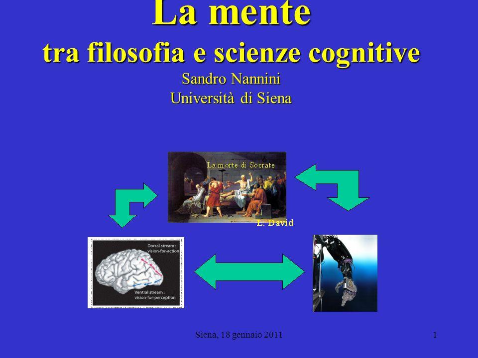 La mente tra filosofia e scienze cognitive Sandro Nannini Università di Siena Dipartimento di Filosofia e Scienze Sociali