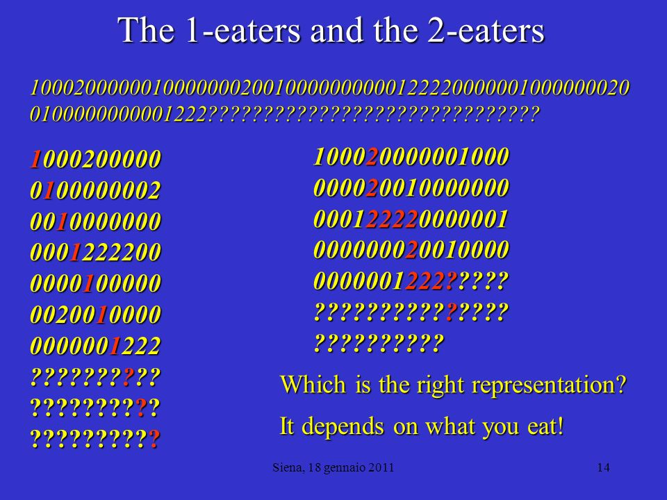 The 1-eaters and the 2-eaters
