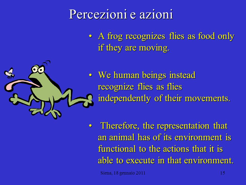 Percezioni e azioni A frog recognizes flies as food only if they are moving.