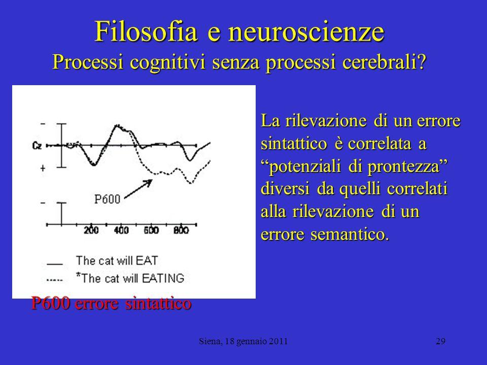 Filosofia e neuroscienze Processi cognitivi senza processi cerebrali