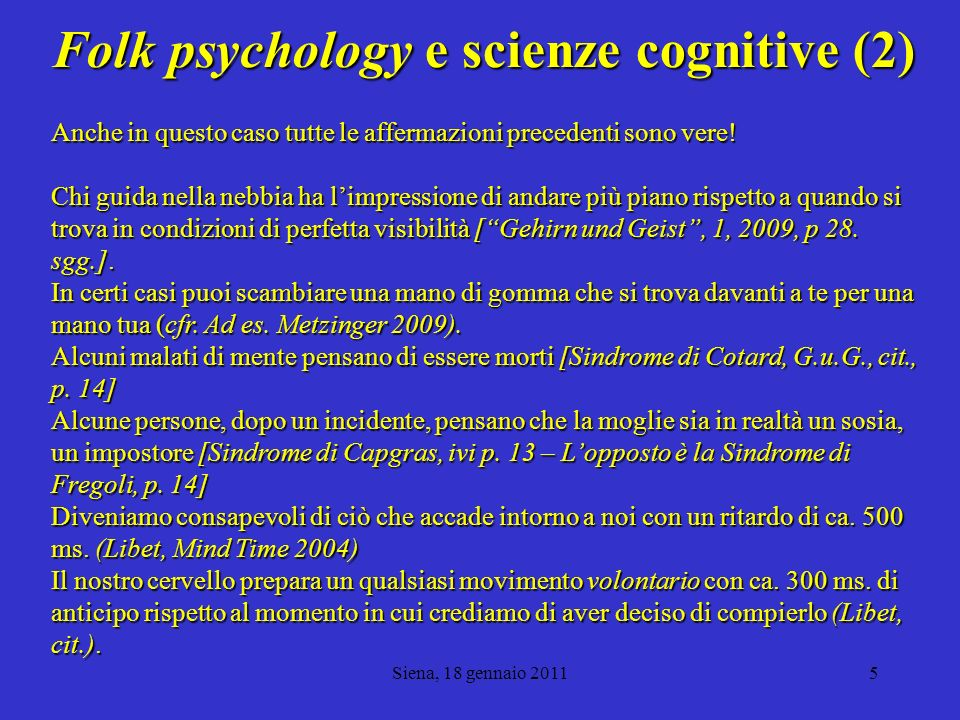 Folk psychology e scienze cognitive (2)