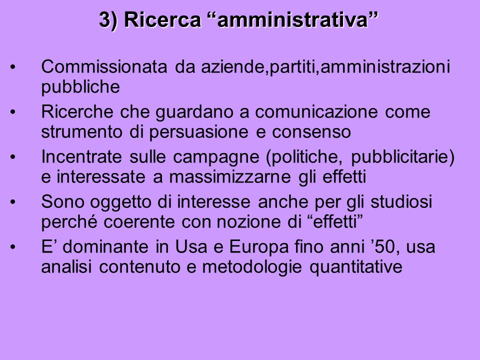 3) Ricerca amministrativa