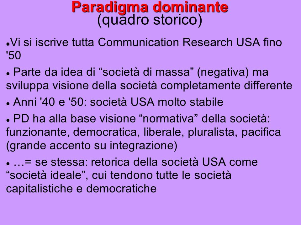 Paradigma dominante (quadro storico)