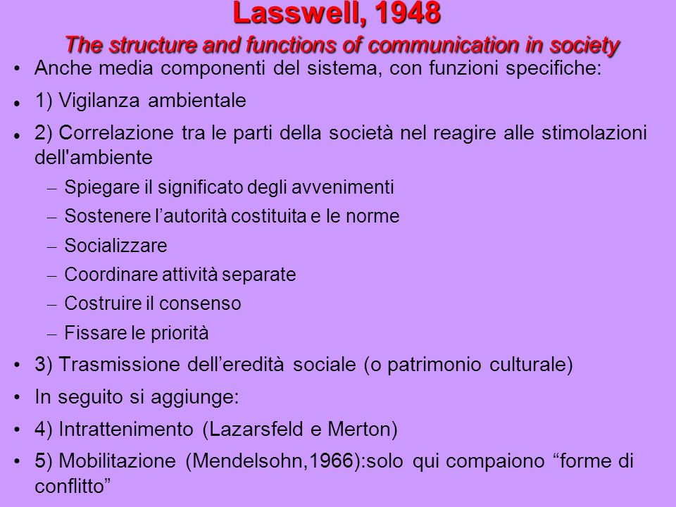 Lasswell, 1948 The structure and functions of communication in society