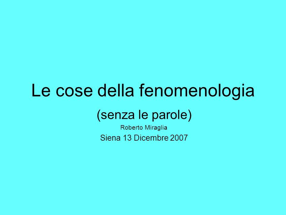 Le cose della fenomenologia