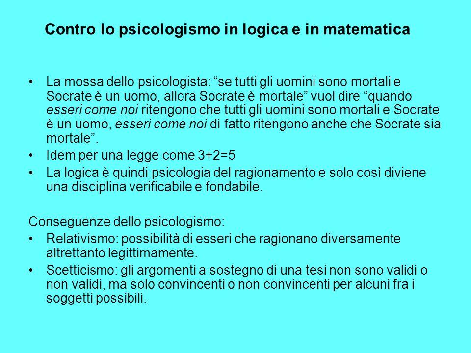 Contro lo psicologismo in logica e in matematica