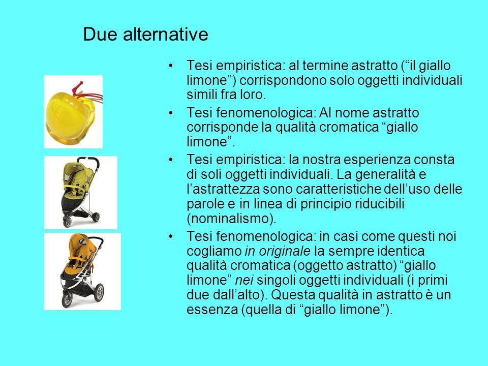 Due alternative Tesi empiristica: al termine astratto ( il giallo limone ) corrispondono solo oggetti individuali simili fra loro.