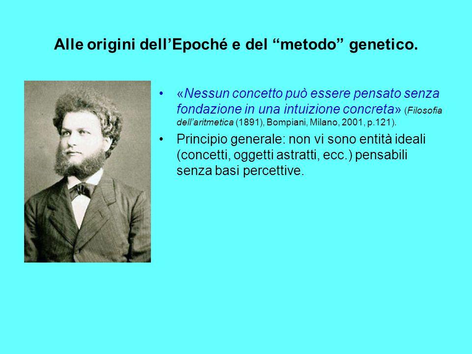 Alle origini dell'Epoché e del metodo genetico.