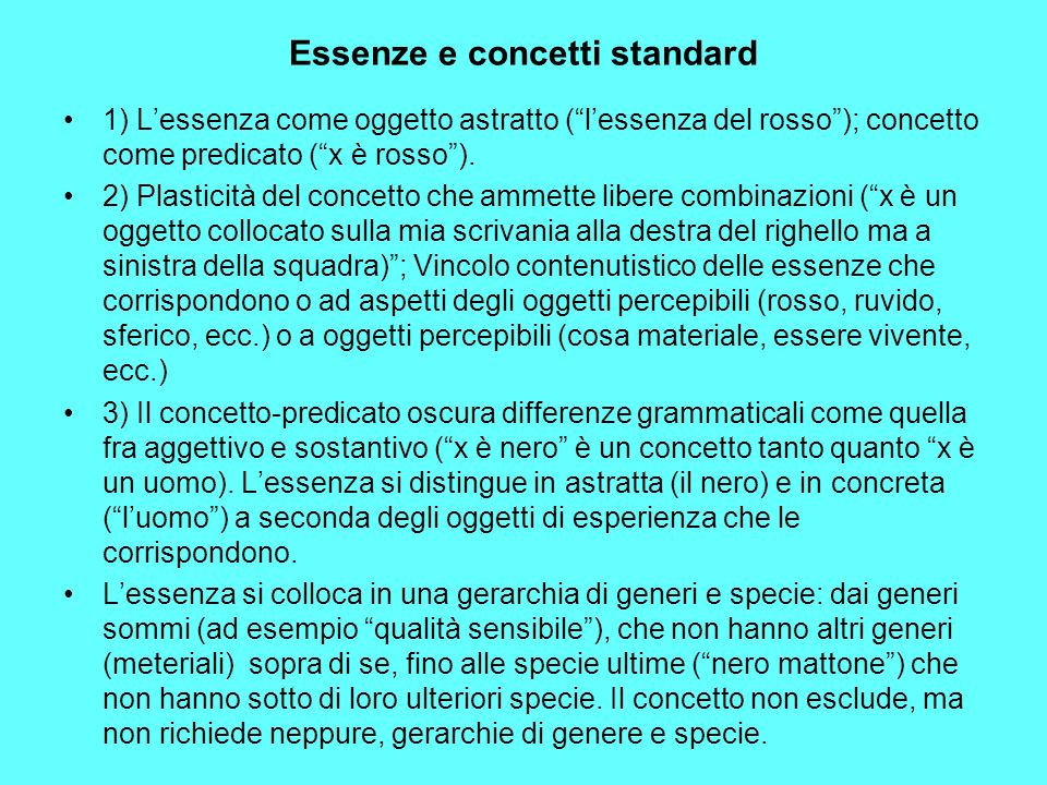 Essenze e concetti standard
