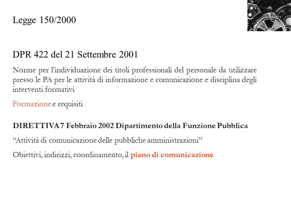 Legge 150/2000 DPR 422 del 21 Settembre 2001