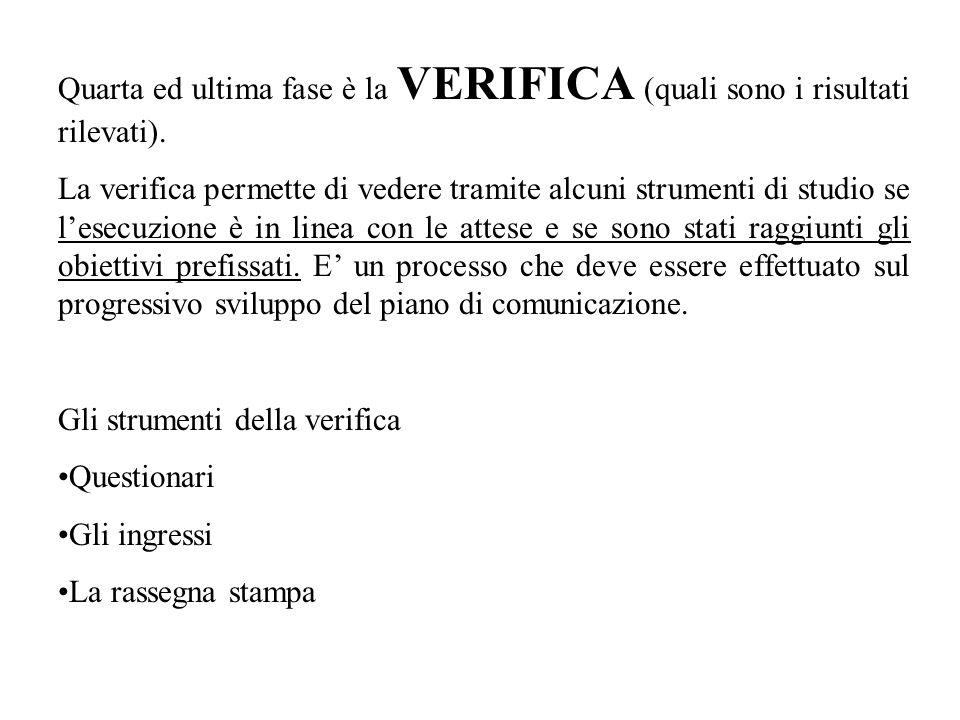 Quarta ed ultima fase è la VERIFICA (quali sono i risultati rilevati).