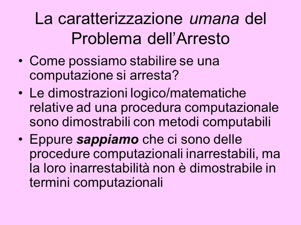 La caratterizzazione umana del Problema dell'Arresto