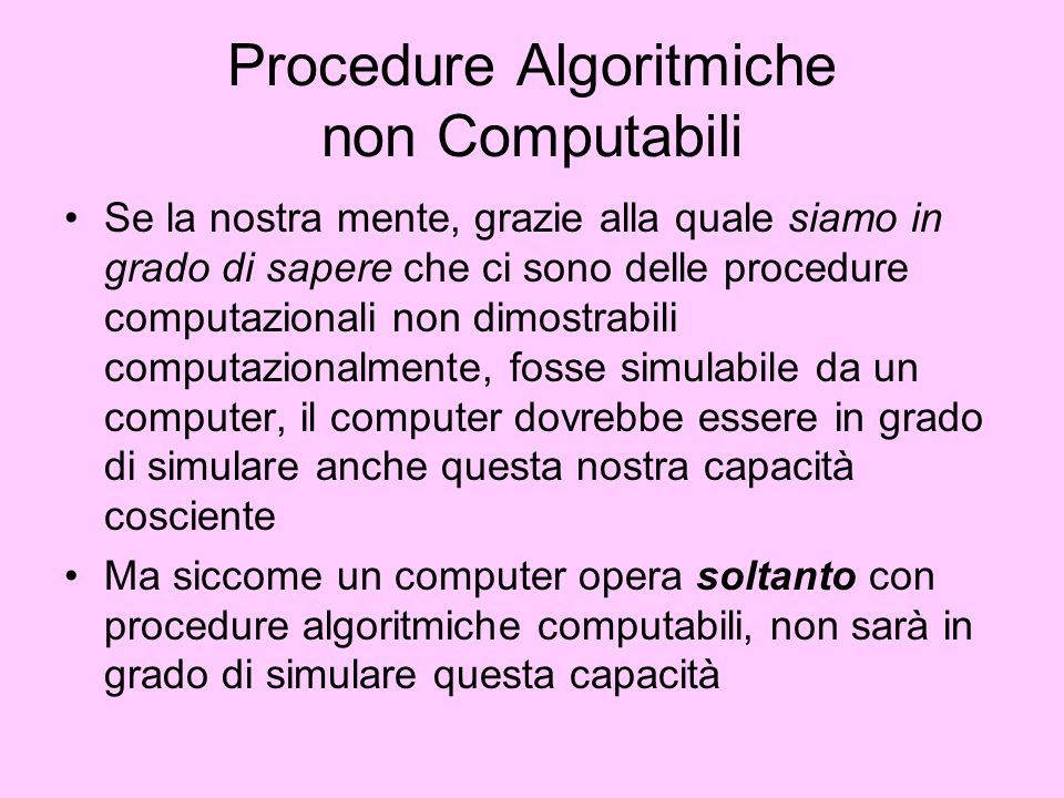 Procedure Algoritmiche non Computabili