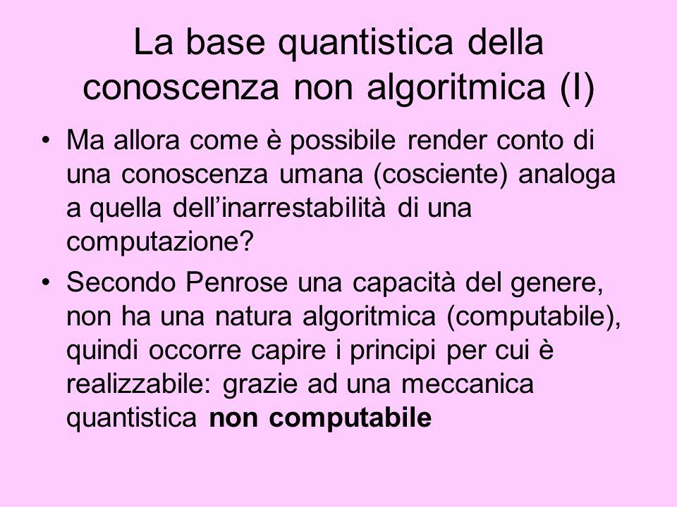La base quantistica della conoscenza non algoritmica (I)