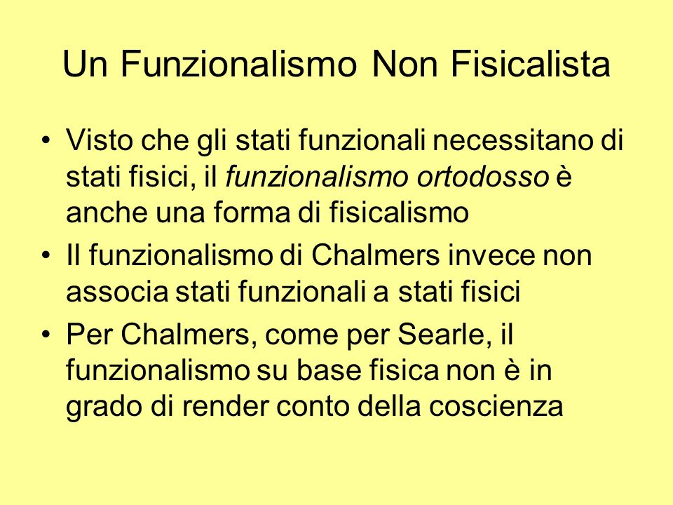 Un Funzionalismo Non Fisicalista