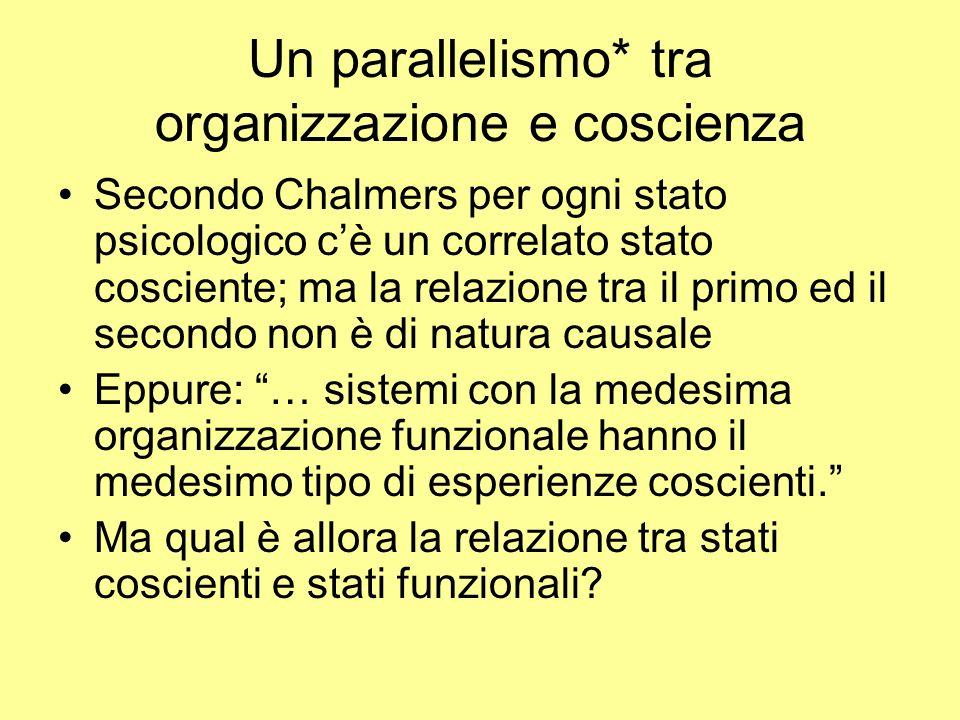 Un parallelismo* tra organizzazione e coscienza